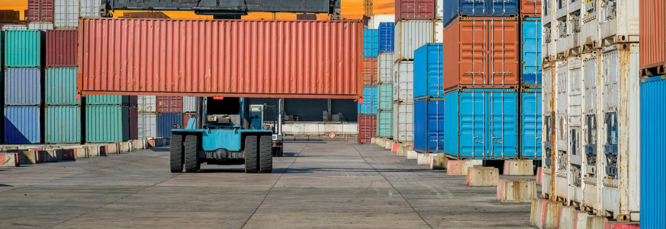 Shipping containers in lot