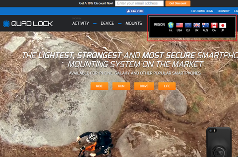 Screenshot of Quad Lock's website with multiple country options