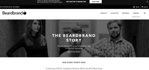 Screenshot of Beardbrand website and branding.