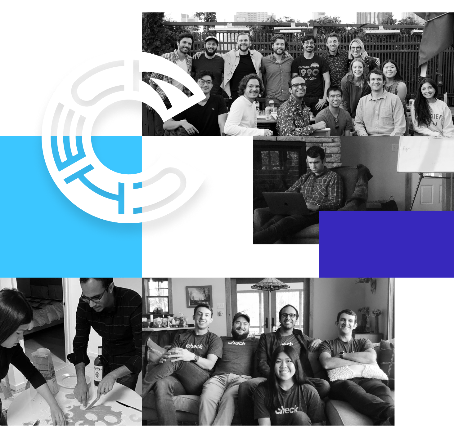 A collage of team member photos