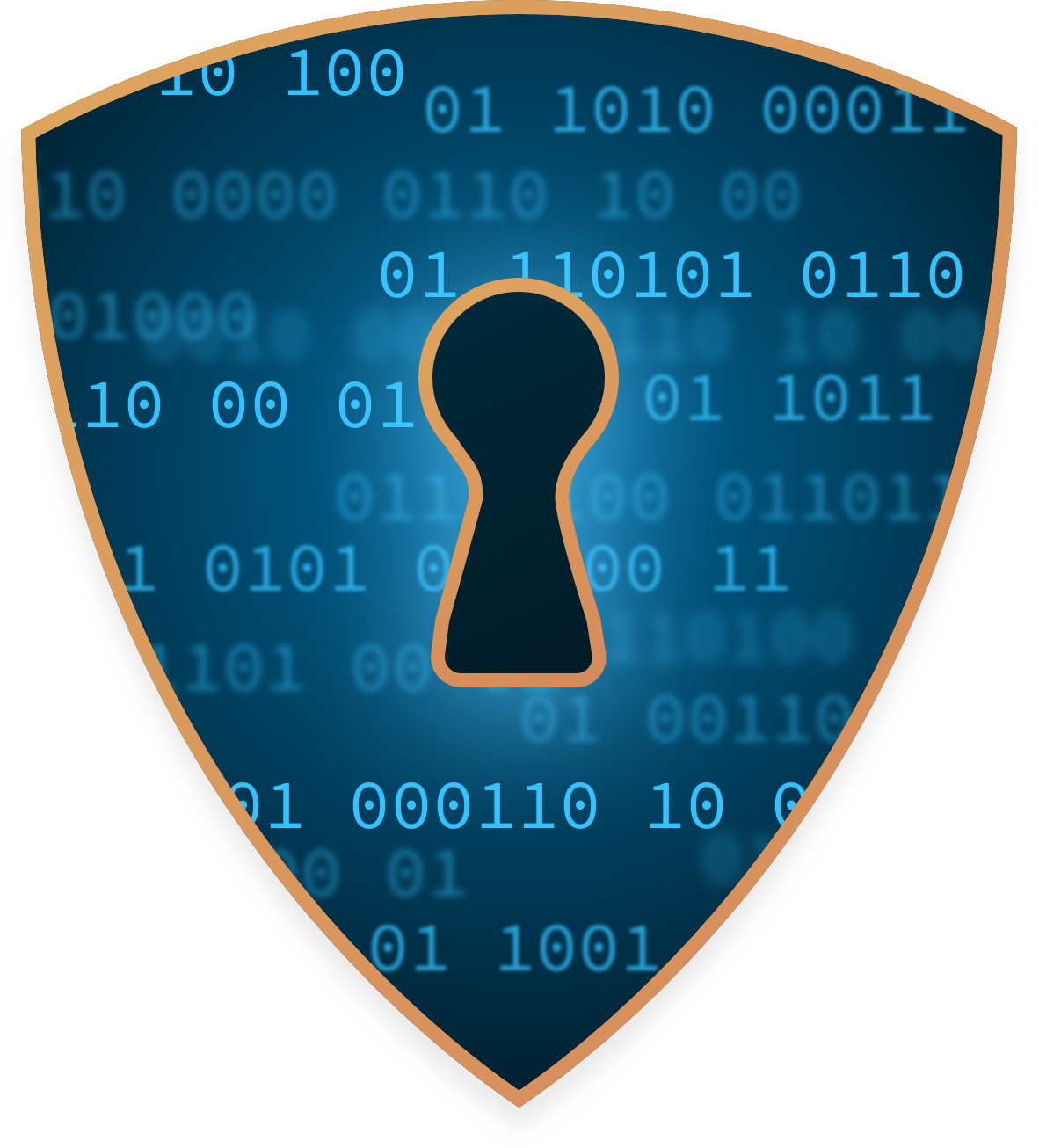 Security shield with a keyhole over binary code