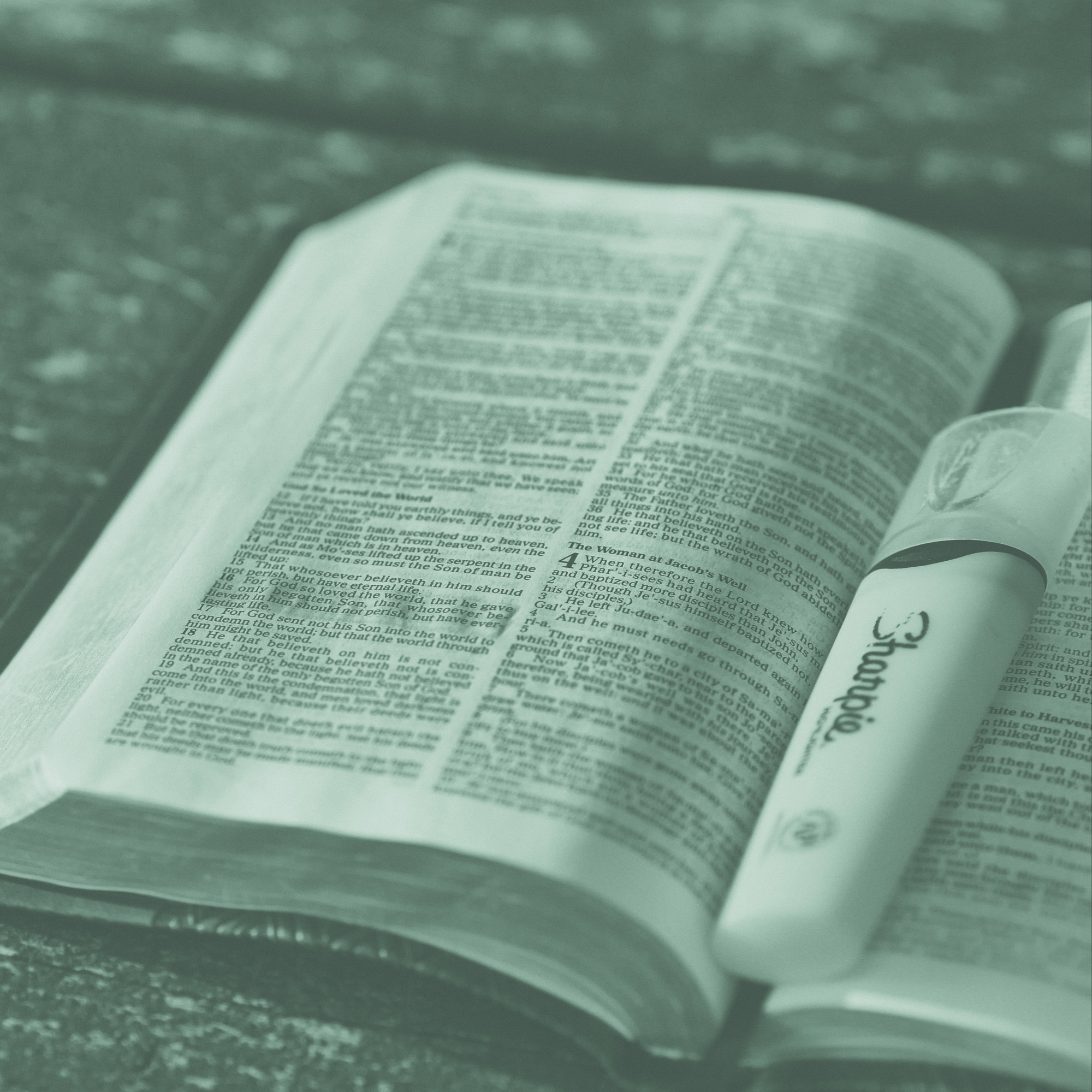 A bible and a highlighter