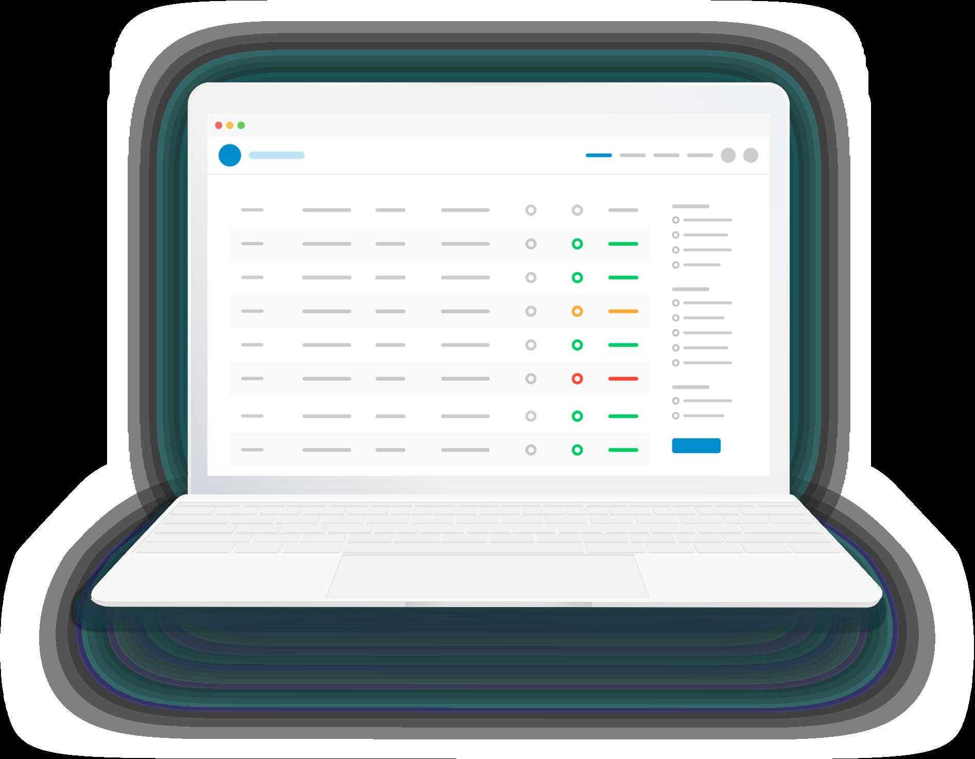 Laptop with admin portal illustration