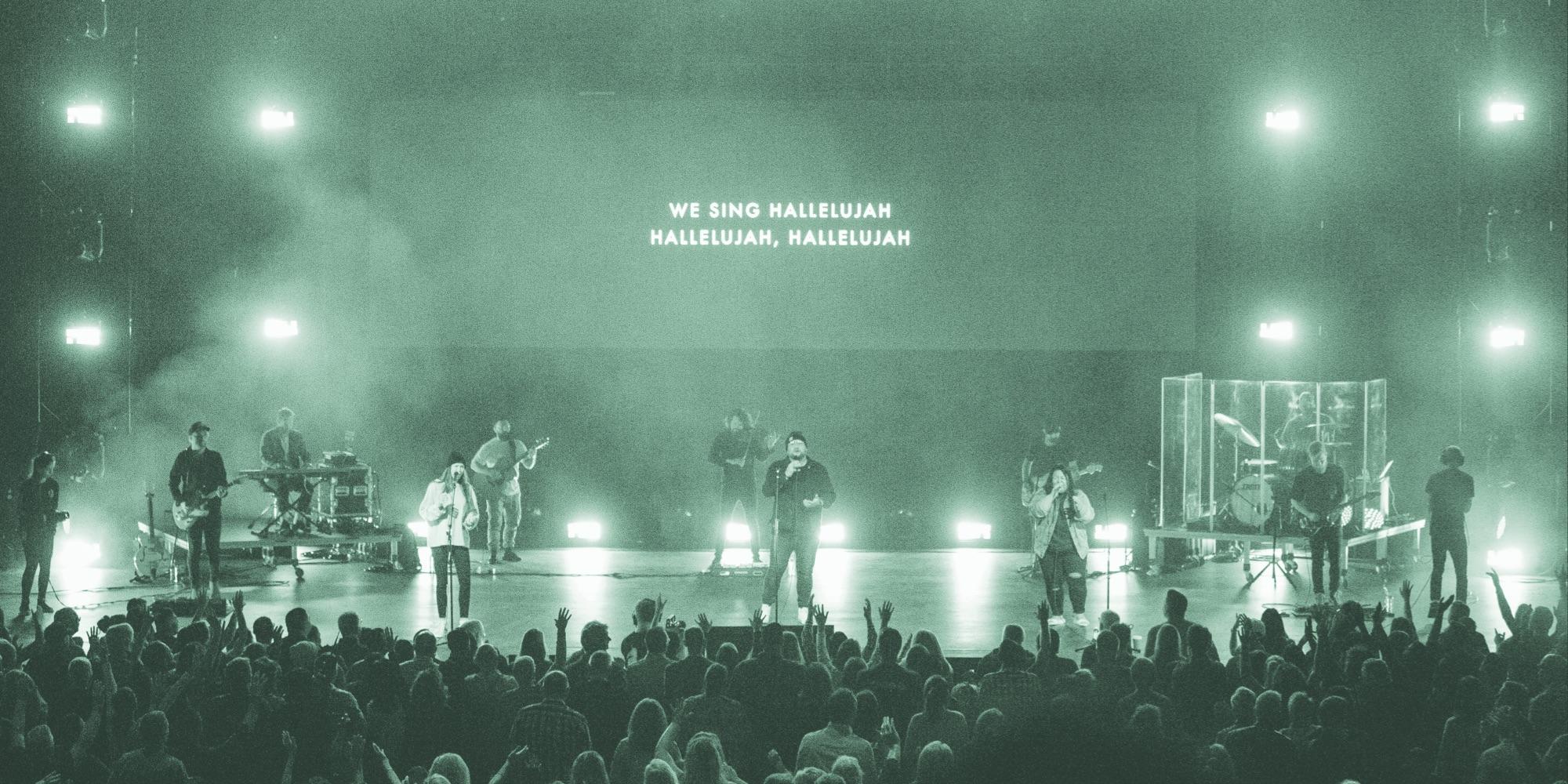 A worship band singing Hallelujah