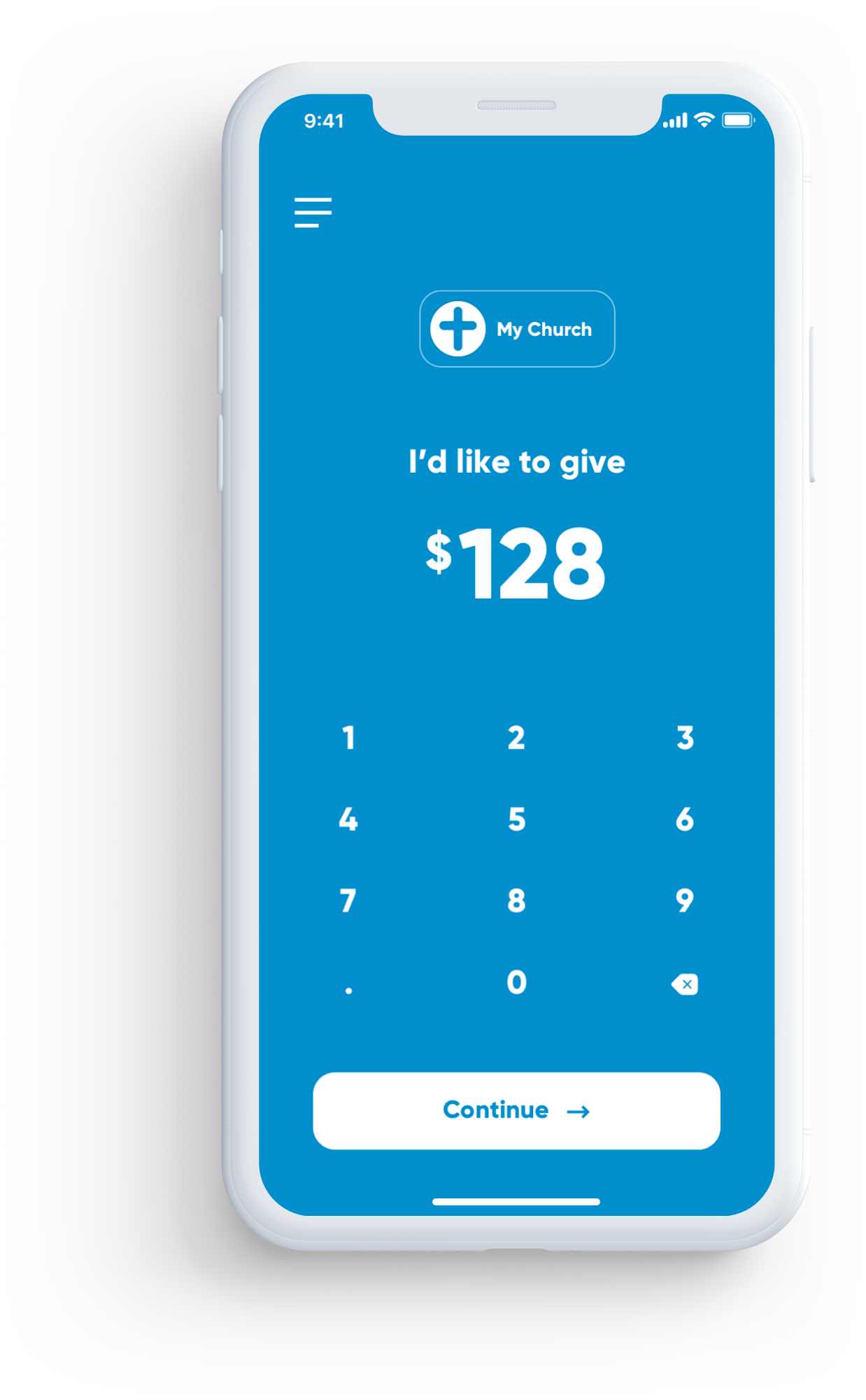 iPhone app showing the giving screen