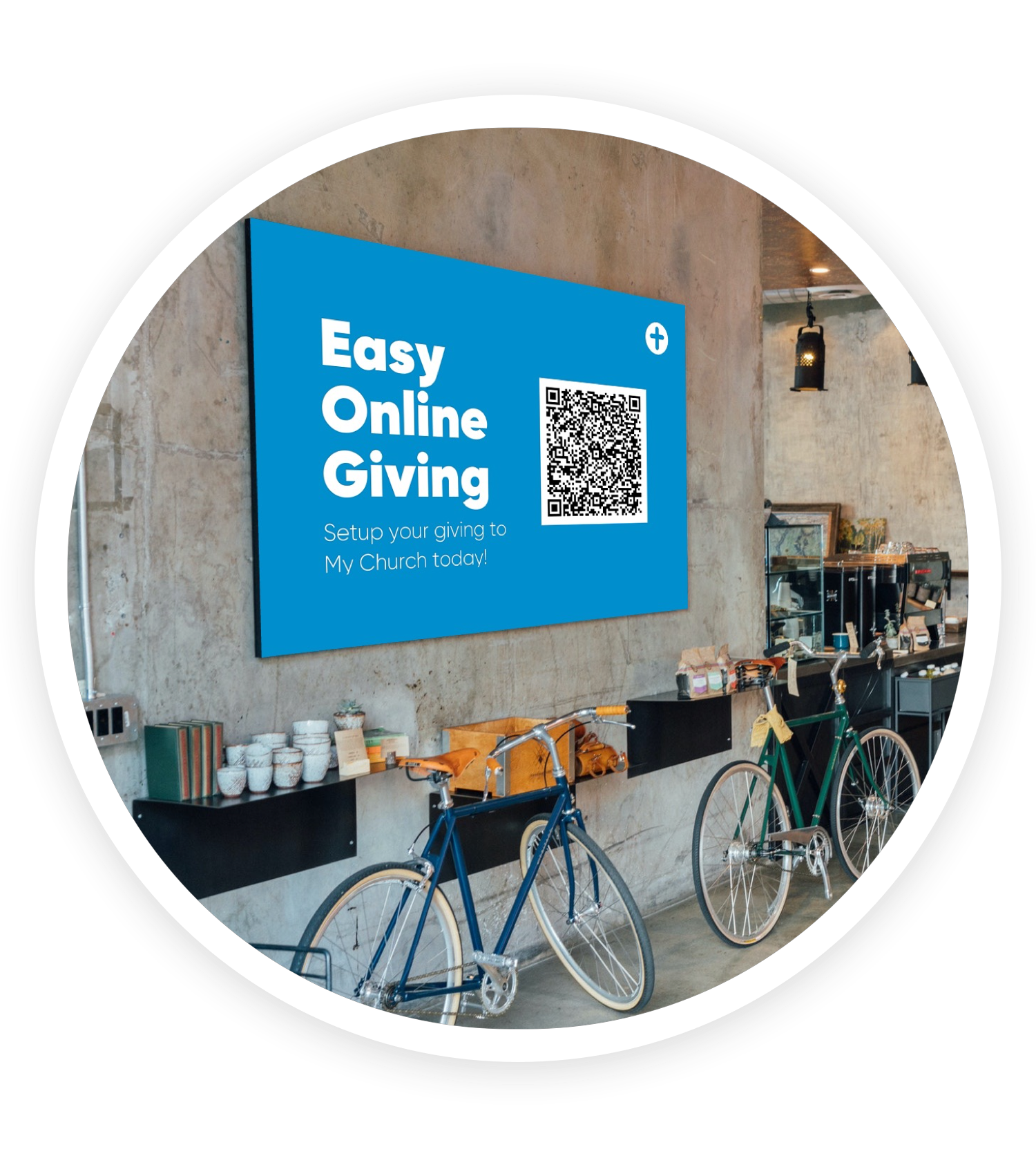 Image of lobby with a billboard promoting giving using a QR code
