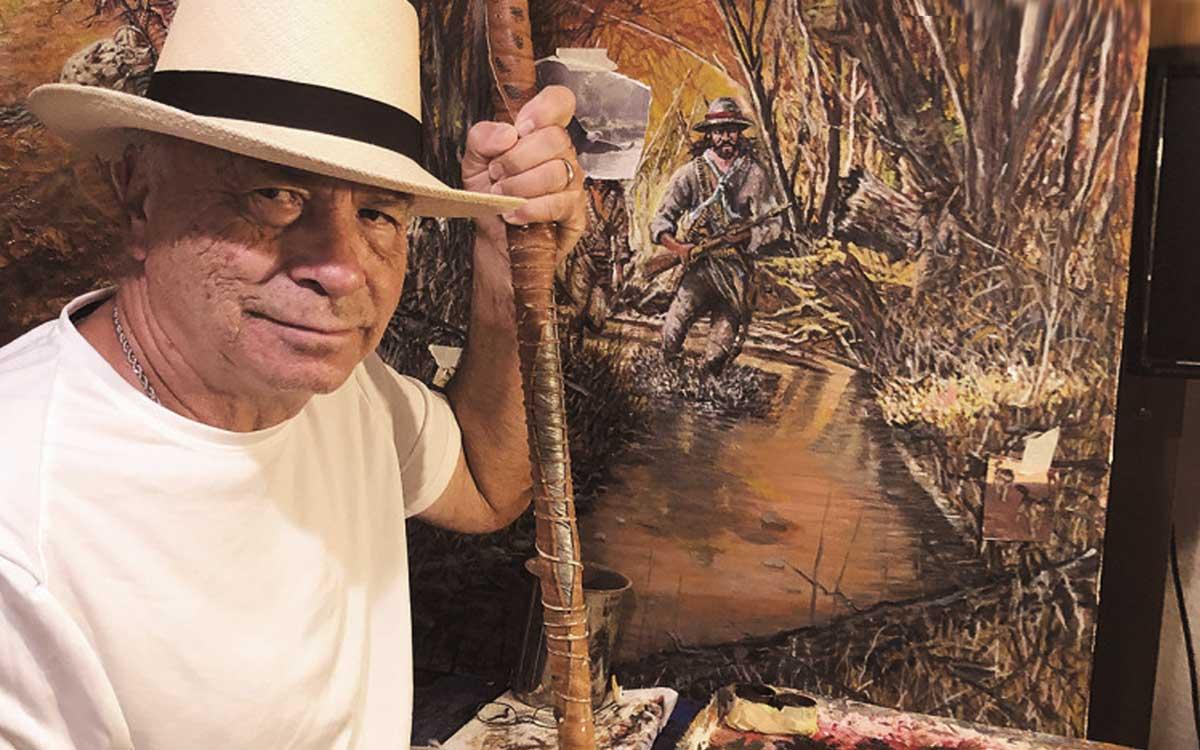 Photo of fine artist and former Yankee, Gene Locklear
