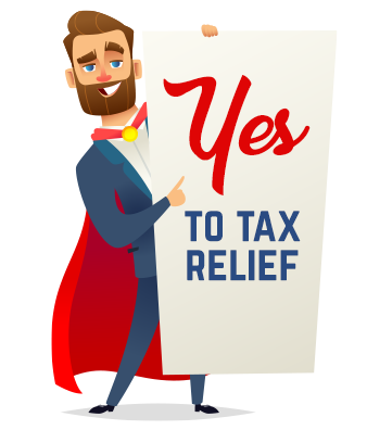 """Vector image of Tax Alliance hero with sign that says, """"Yes to tax relief"""""""