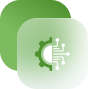 a white and green tech icon