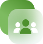 a white and green community members icon