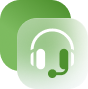 a white and green headphones icon