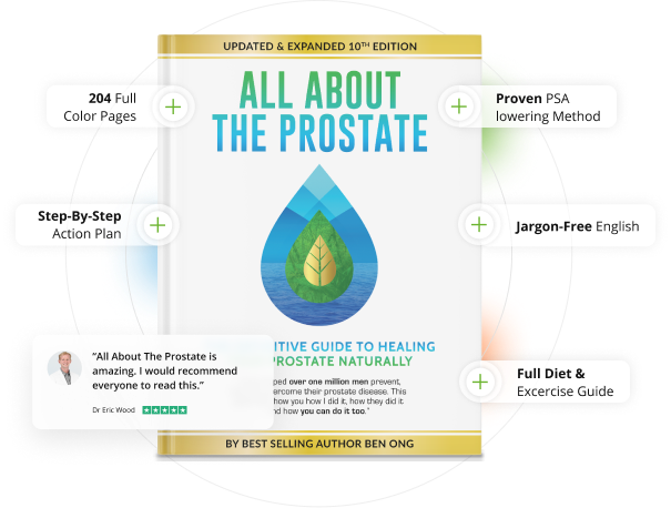 Image of All About The Prostate Book with some of the benefit listed