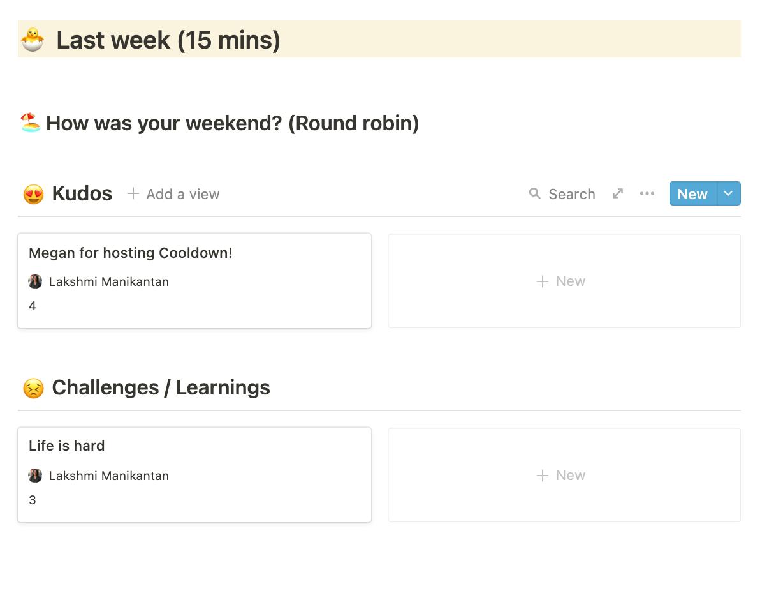 15 mins spent reflecting on last week...