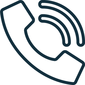 blue line icon of a telephone with sound bars coming from it