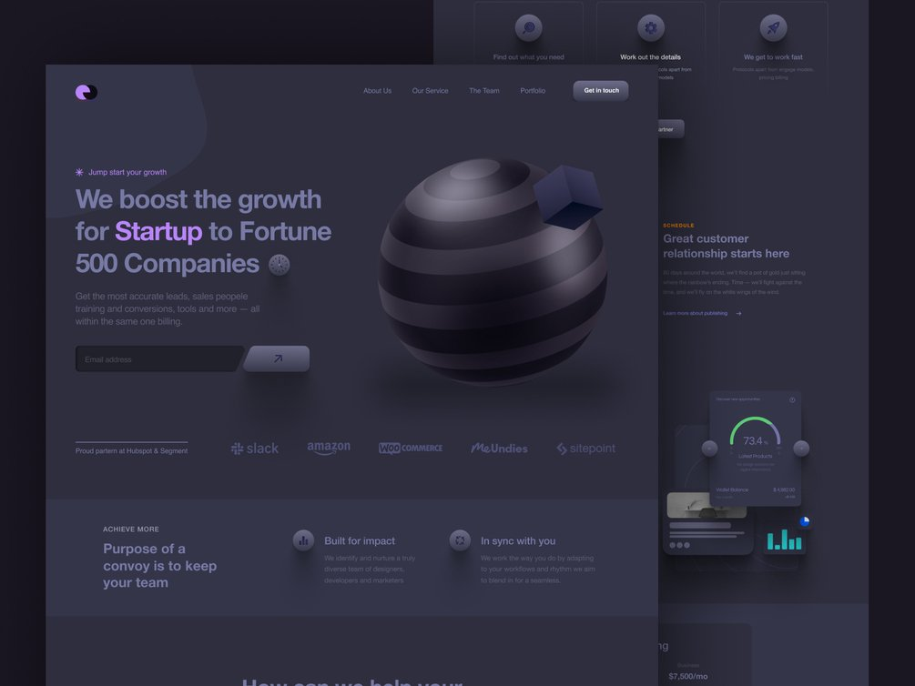 SaaS Company Landing Page UI - Dark Version