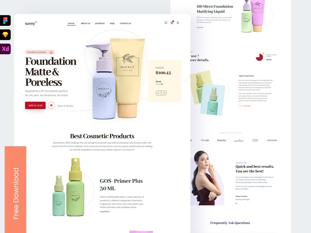 Cosmetics Product Landing Page UI