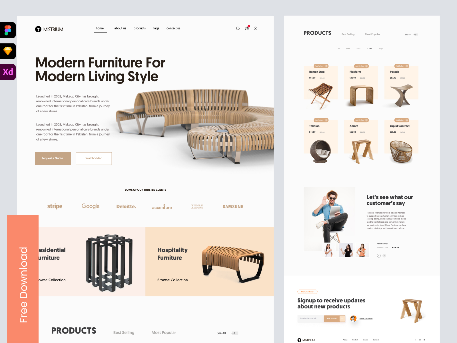 Furniture Company Landing Page - Freebie