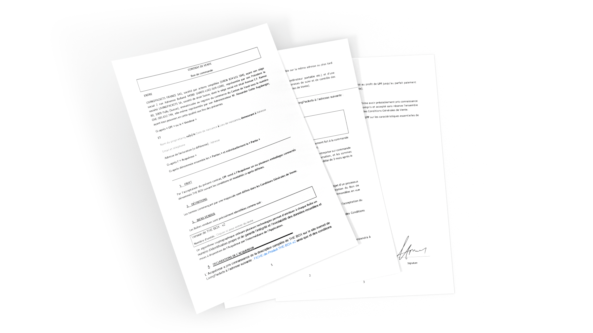 Three pages of the LivingPackets contract stacked