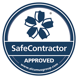 Alcumus Safe Contractor approved badge.