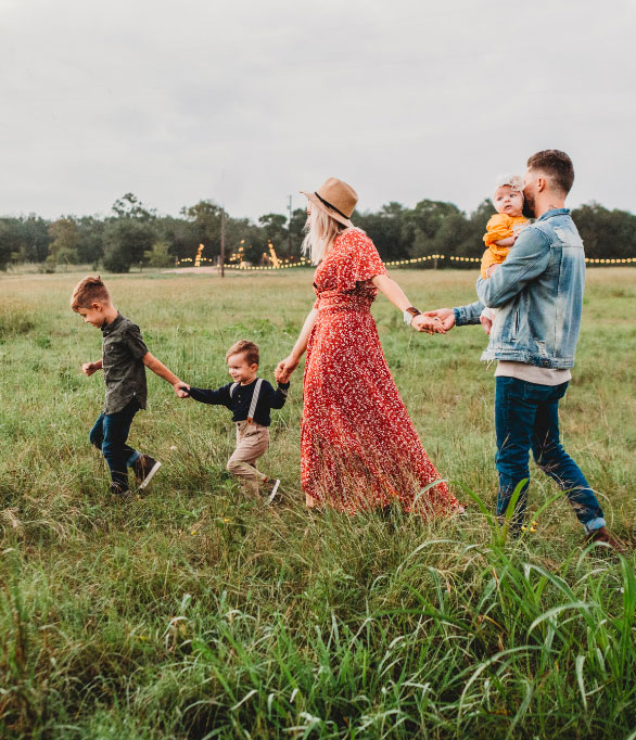 picture of a family walking in the nature
