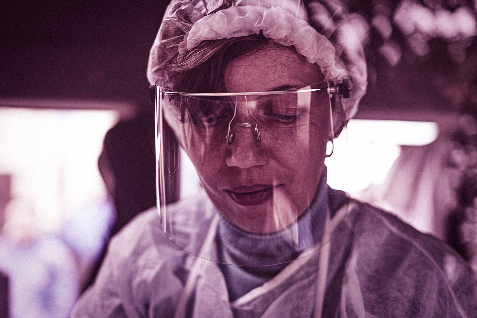 A medical worker wearing a face mask.