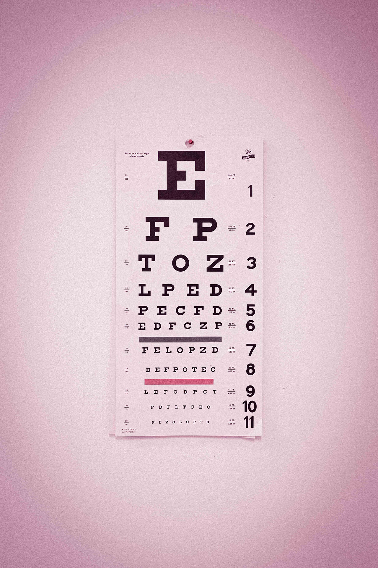 An eye examination chart.