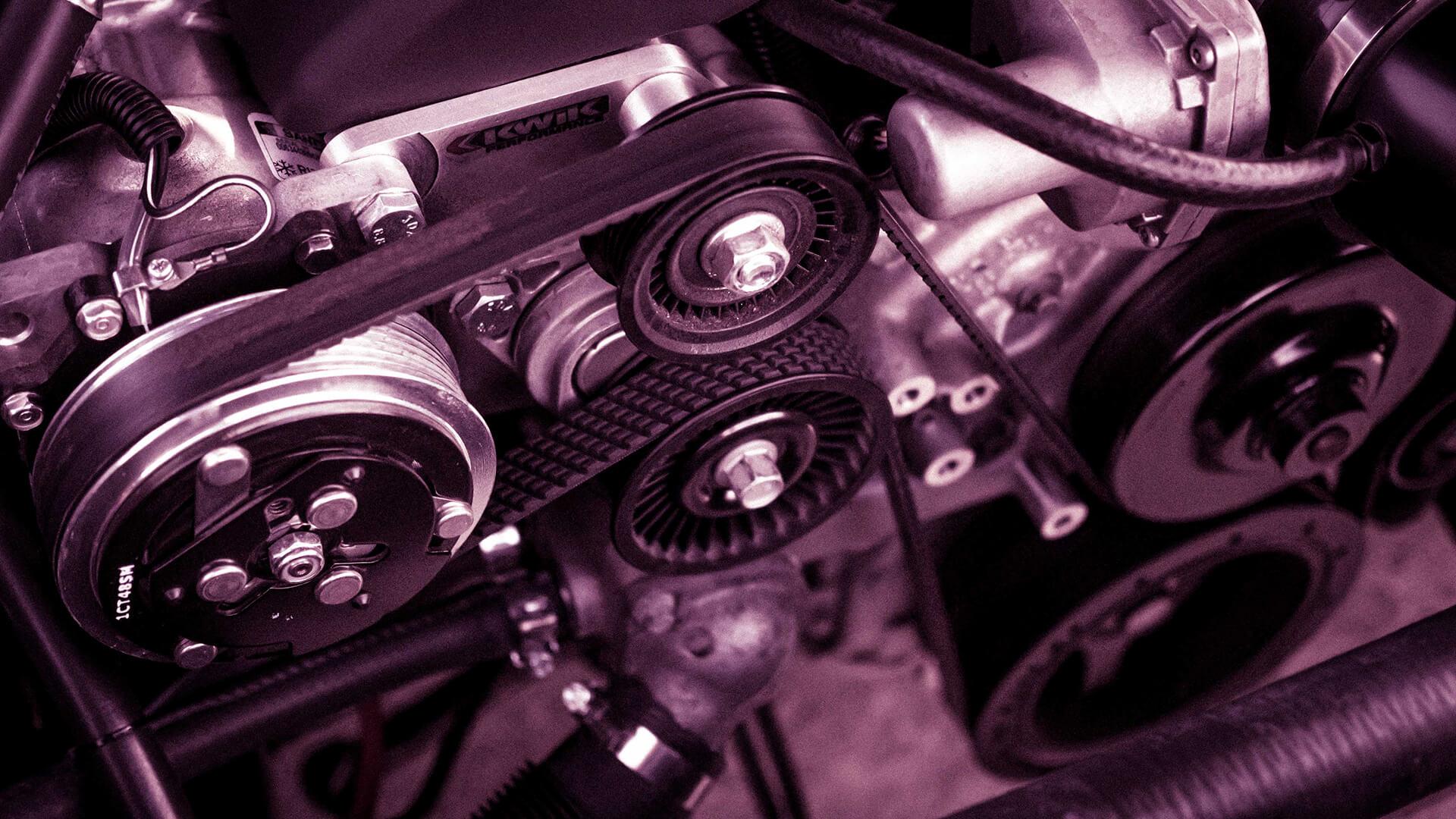 Engine showing belts.
