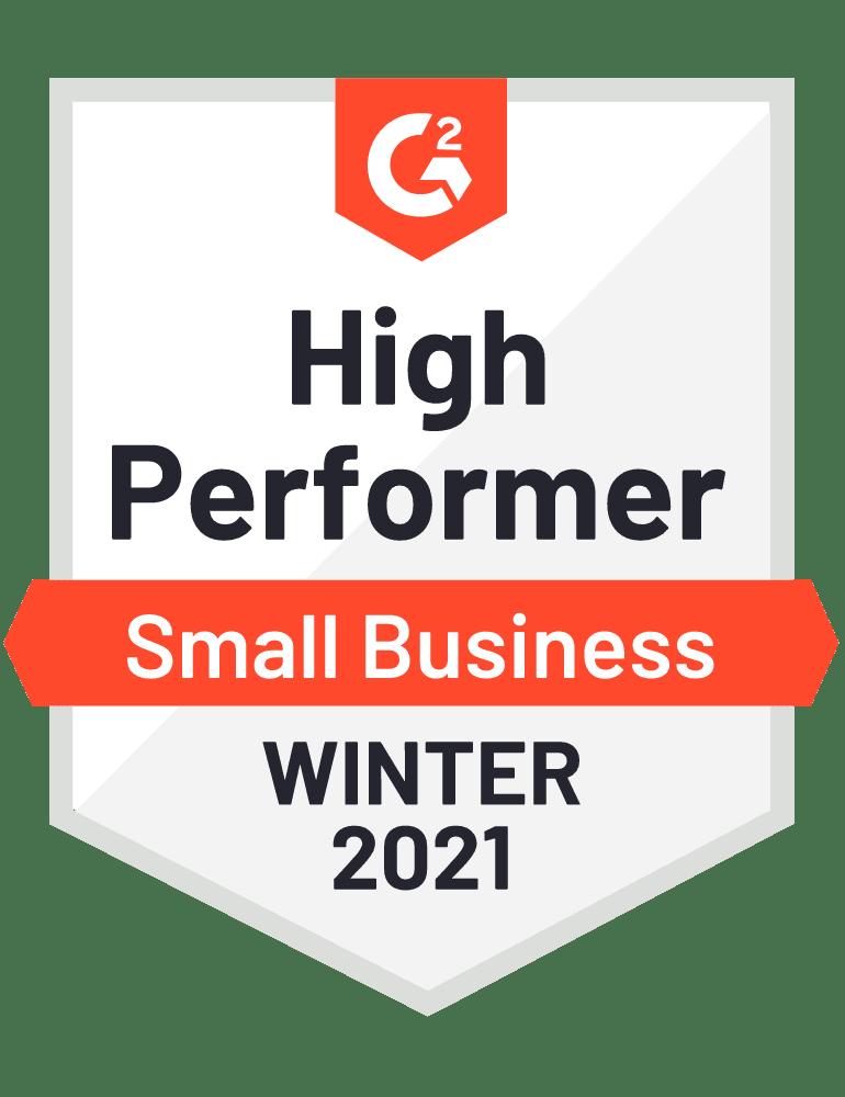 G2 High Performer 2021 Badge