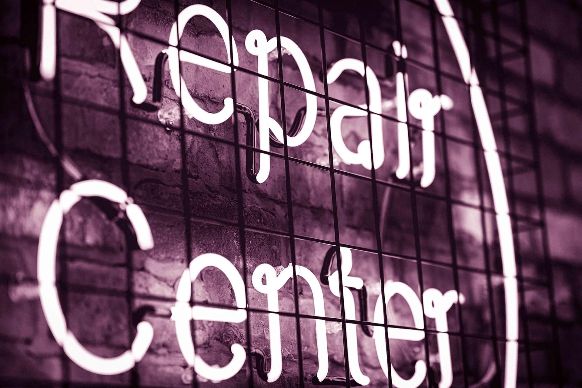 Repair Center sign.