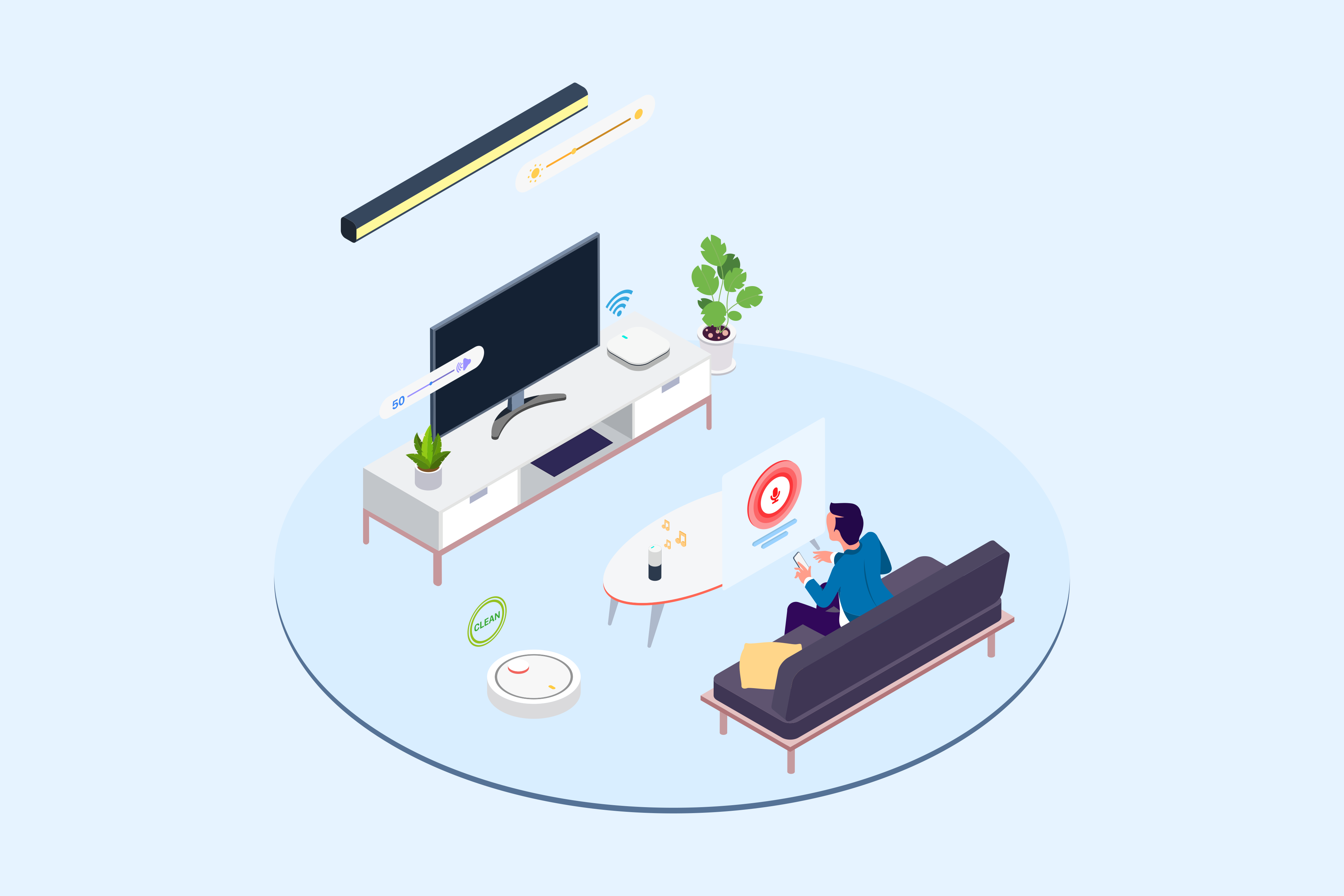 Amazon Voice Enabled Home Illustration