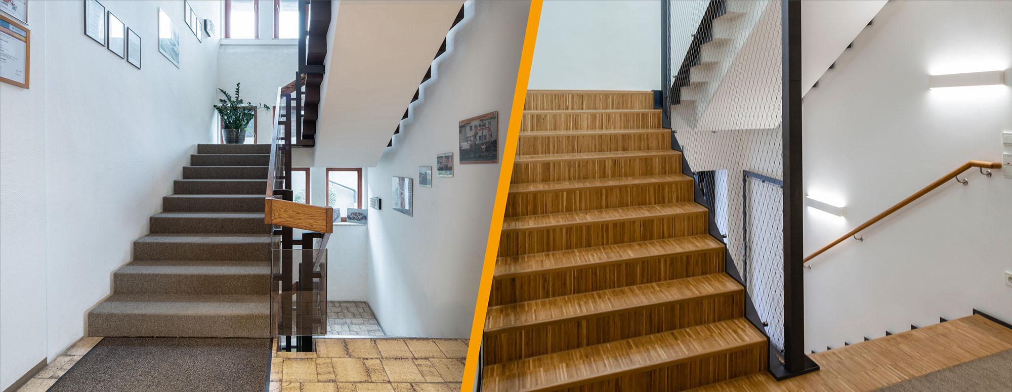 alt/neu Vergleich Treppe