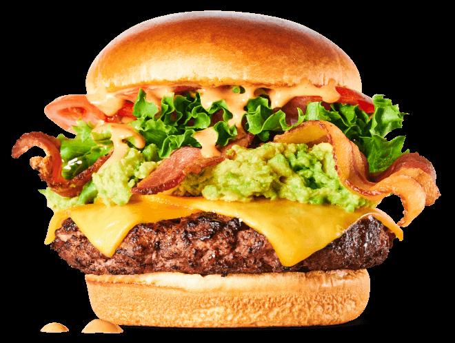 Club Burger-Burger, bacon, cheddar cheese, avocado, lettuce, tomato & Sriracha ranch dressing