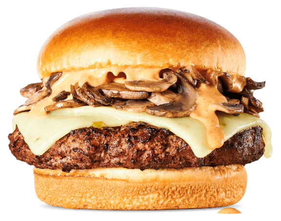 Truffle Burger-Burger, sautéed mushrooms in truffle butter, pepper jack cheese & House Sauce