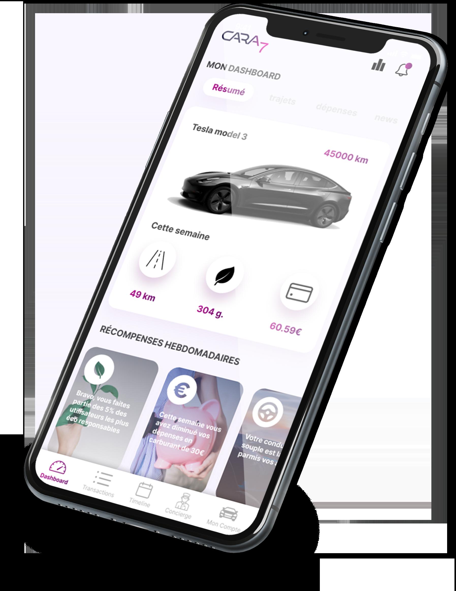 Cara7 mobile app dashboard