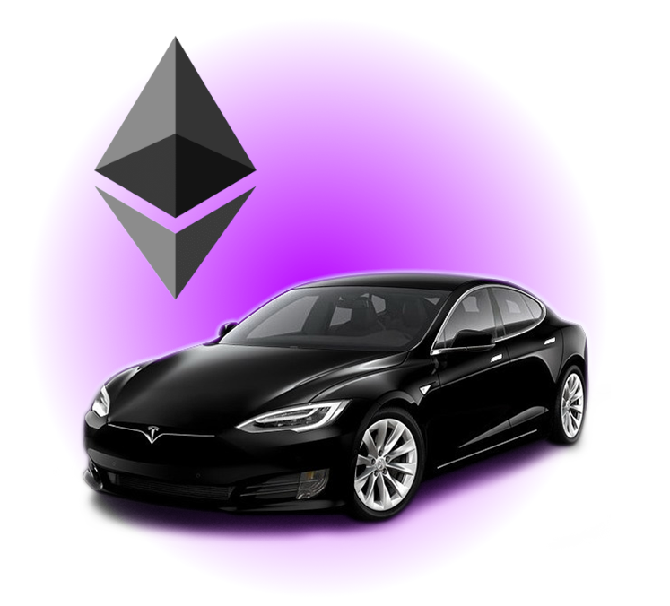 A tesla with the ethereum logo