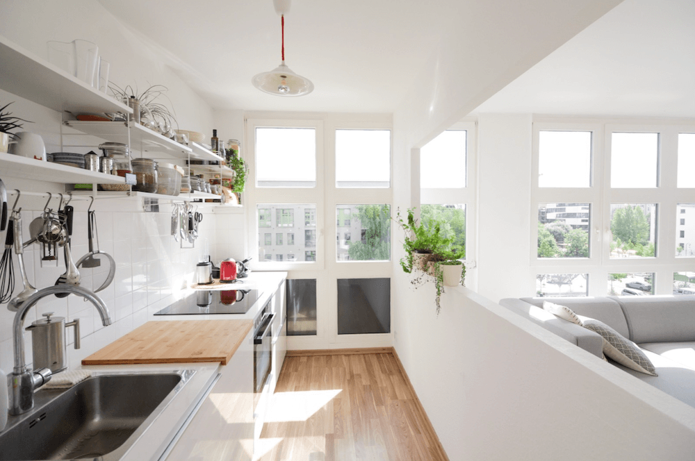 Rooftop garden apartment in architect building, available to rent as a film location in Berlin, Germany