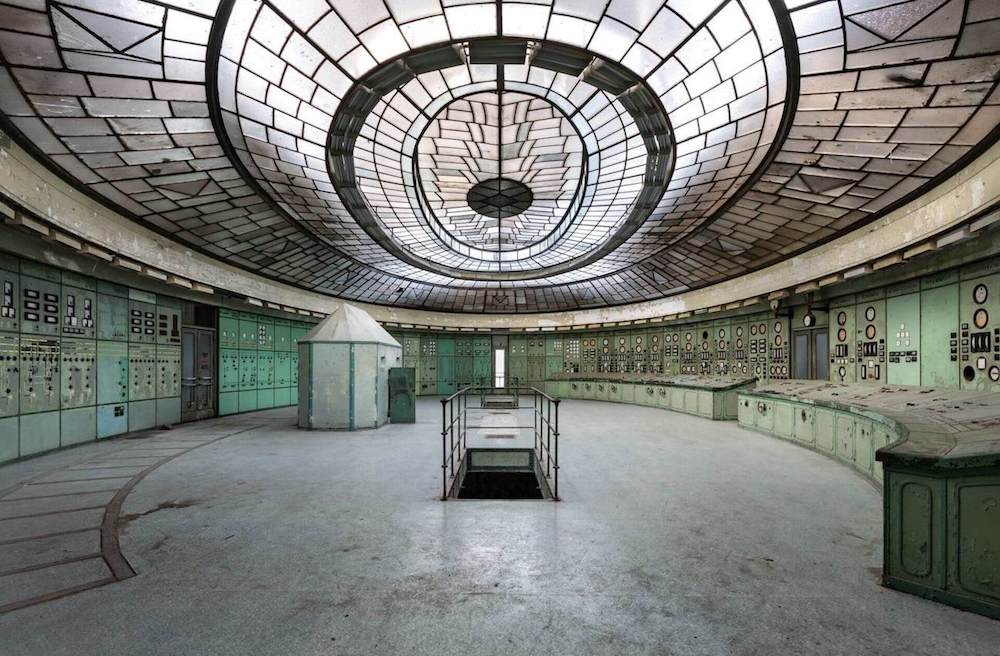 Interior of an abandoned control room.