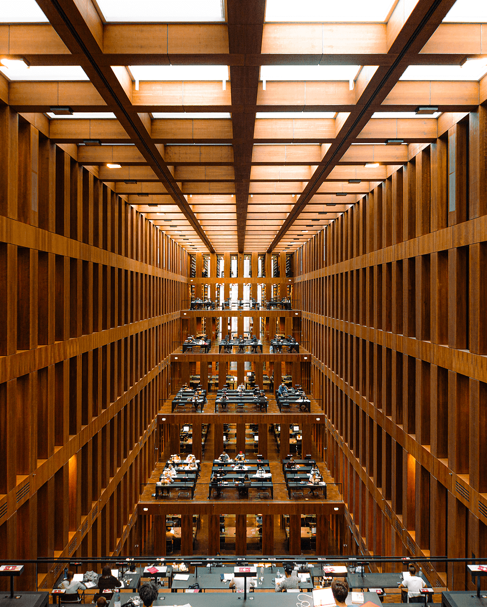 Interior of a library, symmetric architecture, minimalist architecture