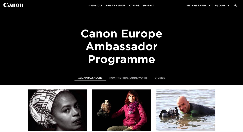 Canon Ambassador Programme Screenshot