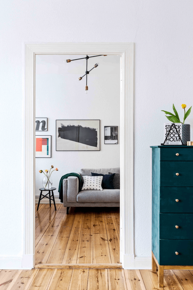 Second living room of a minimalist apartment for rent for your next film production in Berlin, Germany. Minimalist and unique interior design