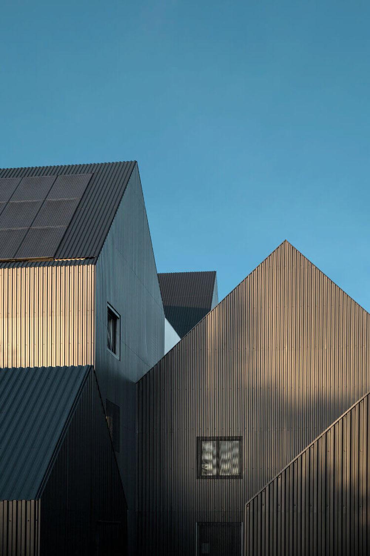 A set of geometric buildings.