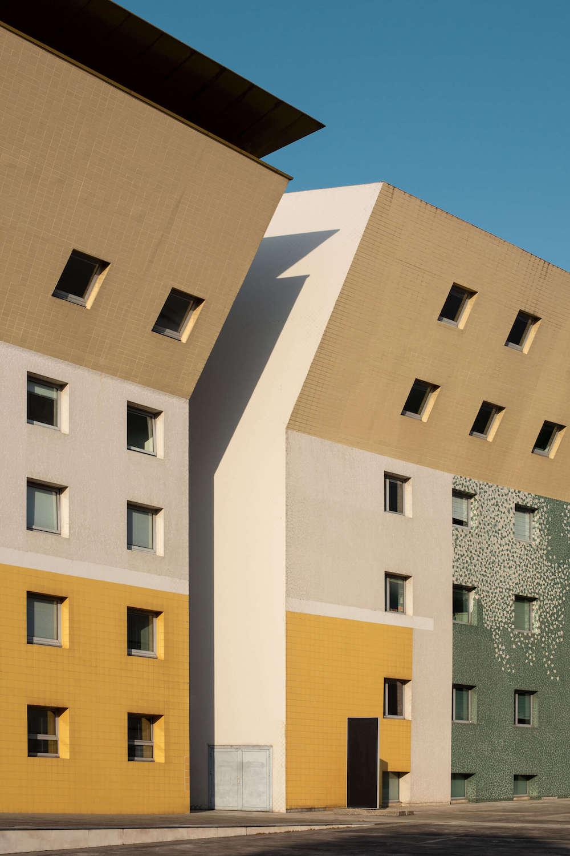 Modernist lean-to buildings.