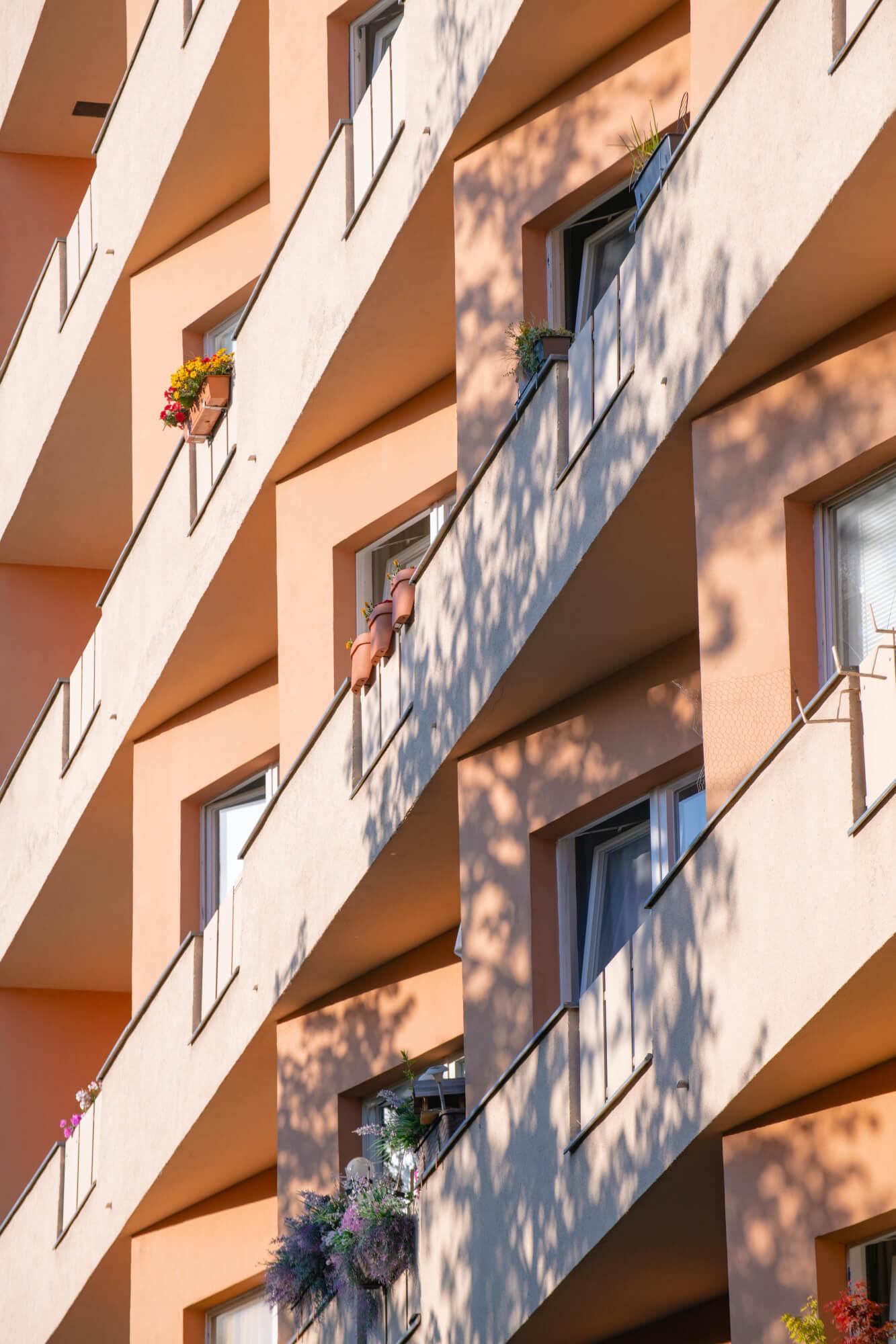 Apricot, balconies, Berlin apartment building