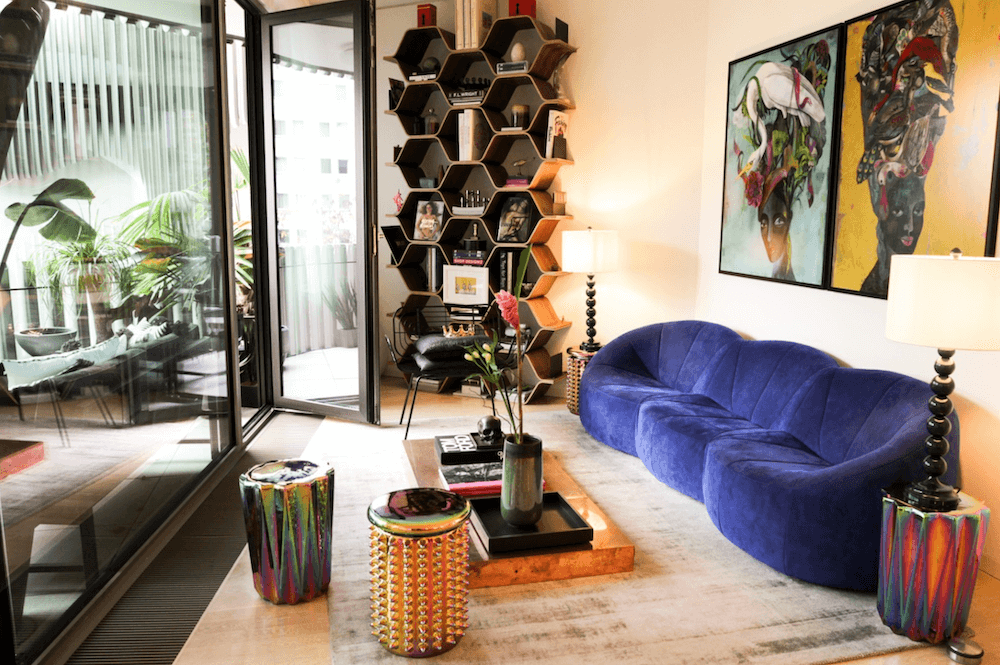 Living room of a modern design apartment in architect building, available to rent as a film location in Berlin, Germany.