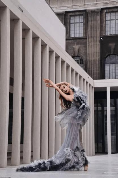 Ballet dancer Rashmi Torres wearing a luxury frills dress.