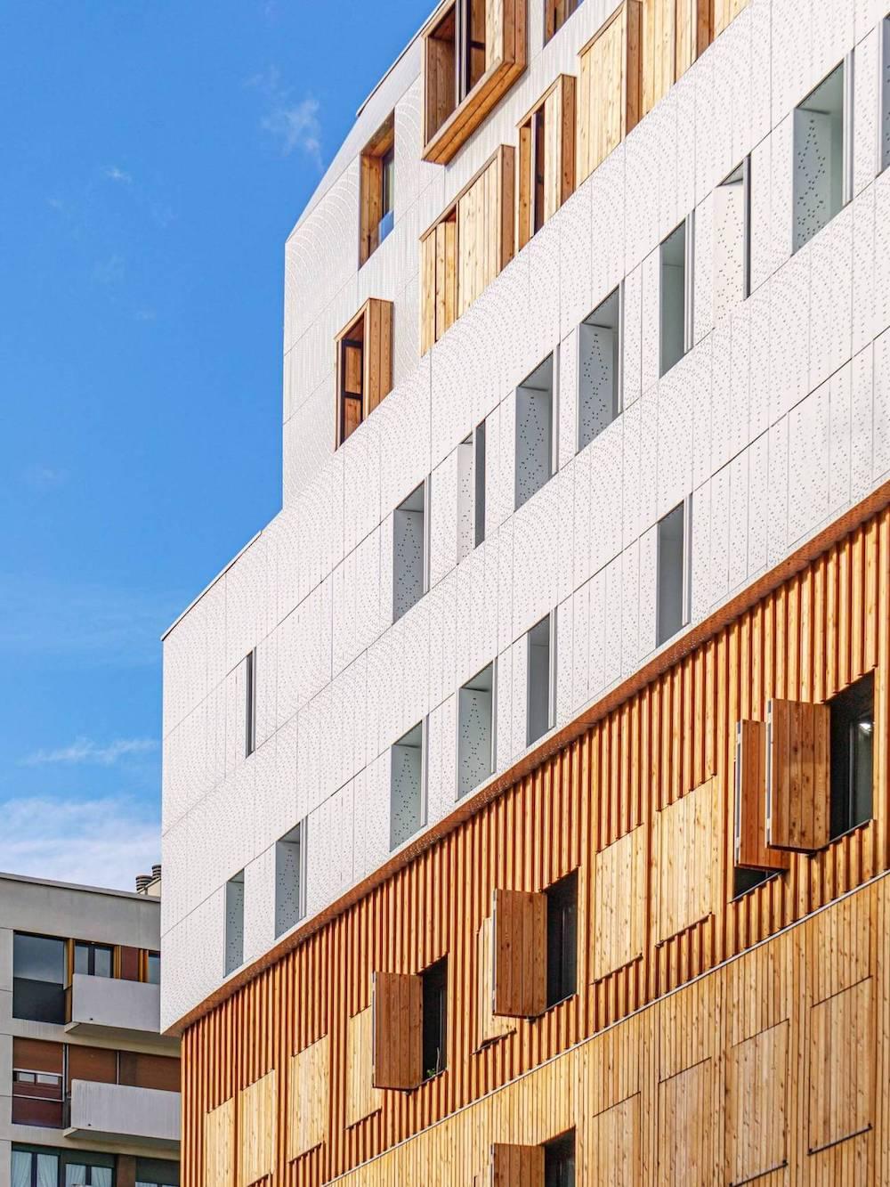 Facade of a wooden building.