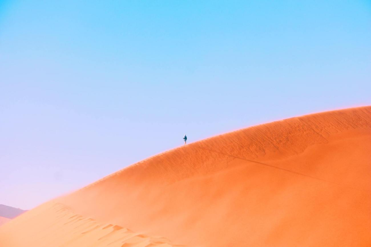 The sand dunes at the Namibian desert, after the sunrise.