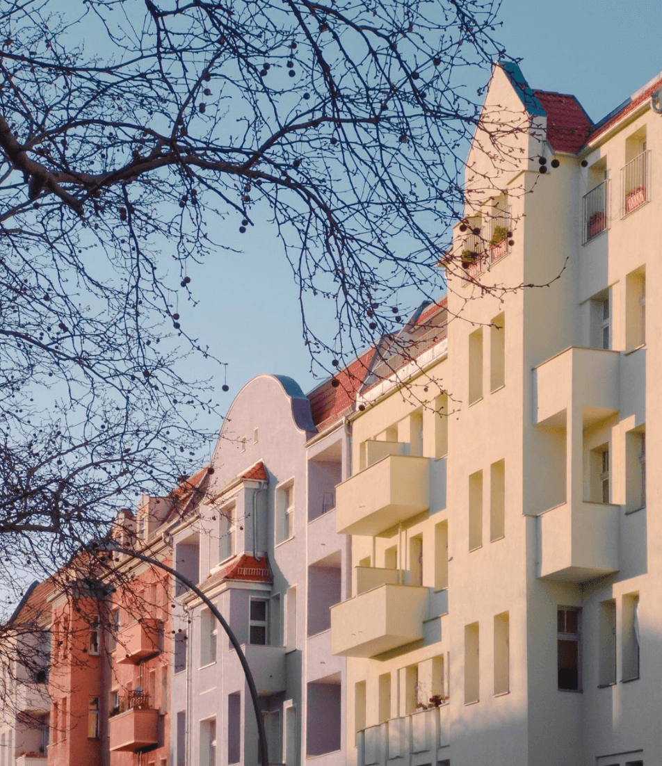 Apartment building in Berlin, colourful balconies