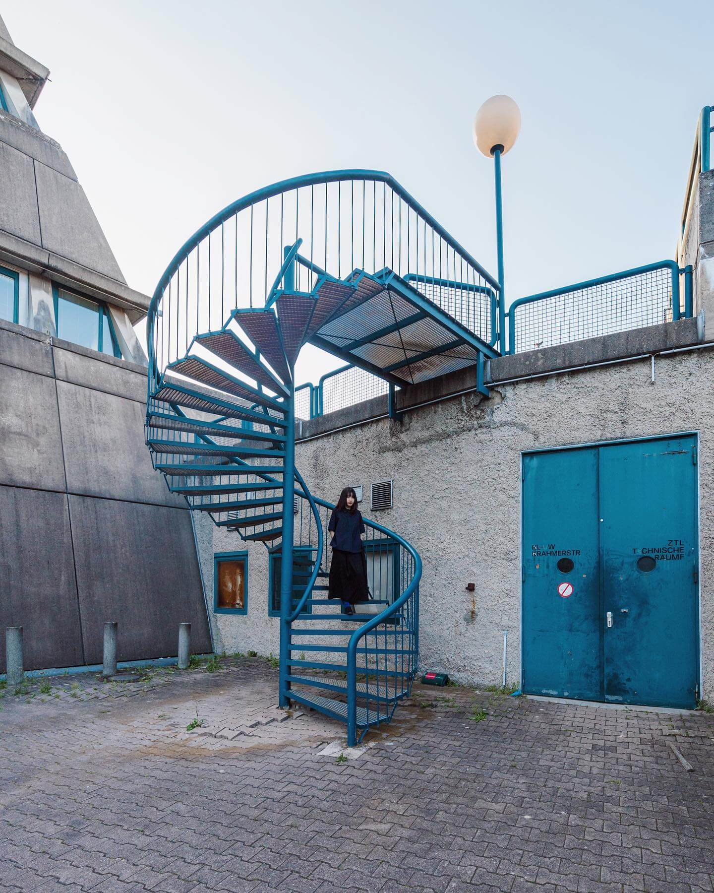 Brutalism architecture, blue stairs