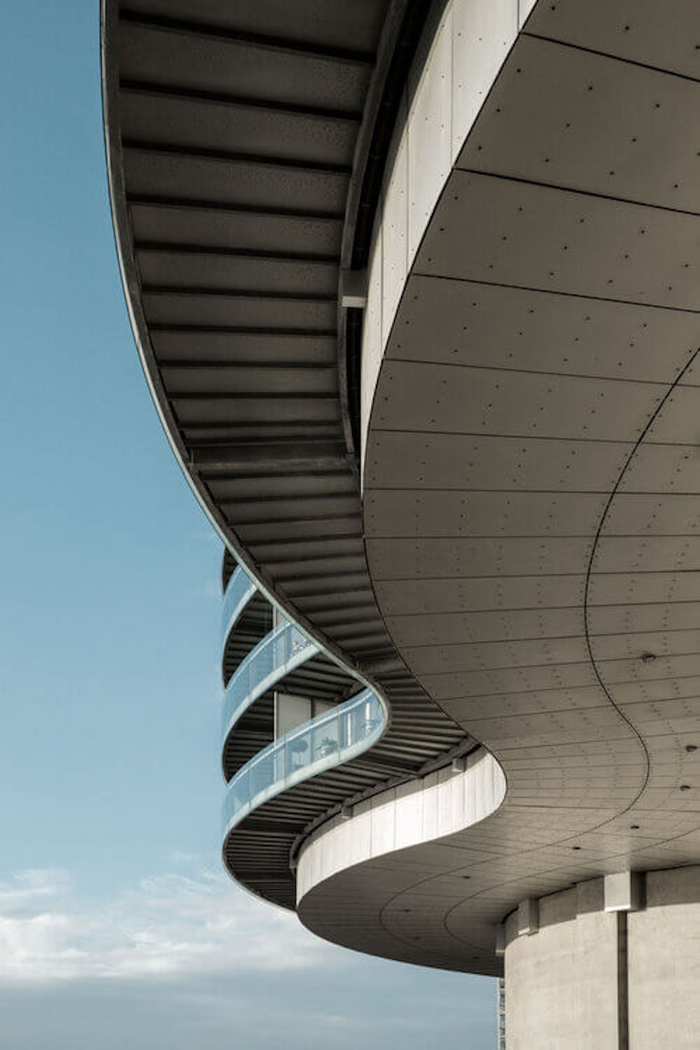 Rooftop of a curved building.
